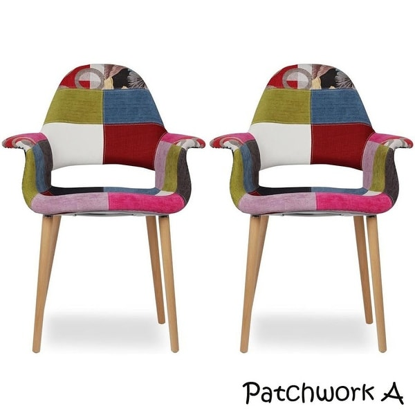 Shop 2xhome Set Of 2 Patchwork Patterned Fabric Upholstered Vintage Accent Chairs High Back With