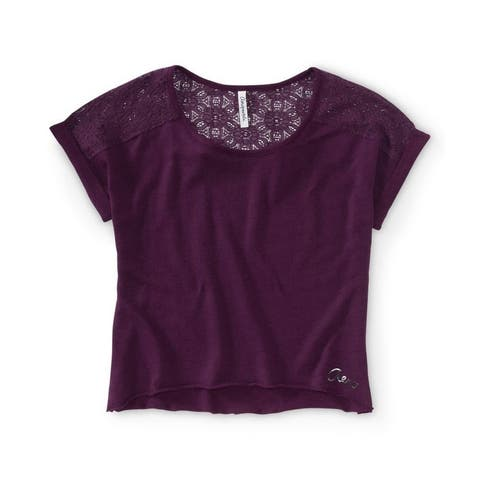 Aeropostale Womens Lace Back Cropped Graphic T-Shirt