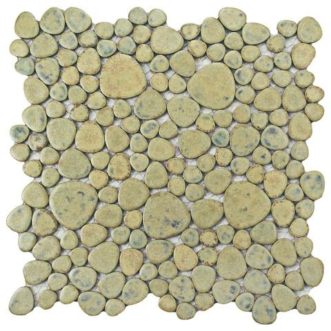 """SomerTile Pebble Green Moss 11"""" x 11"""" Porcelain Mosaic Tile"""