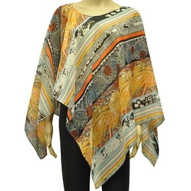 Beautiful Chiffon Lightweight Poncho Wrap Scarf Abstract Paisley