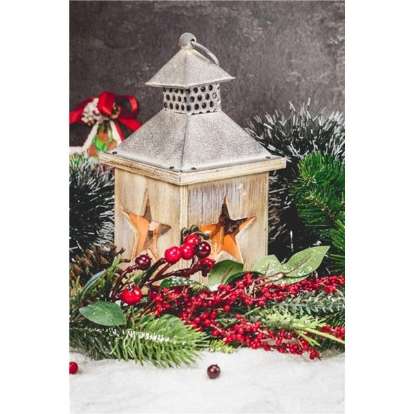 Shop LED Lighted Christmas Candle Lantern with Berries and Greenery ...