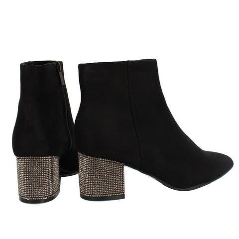 Bamboo Women's Pointy Toe Rhinestone Block Heel Ankle Bootie