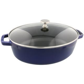 Staub Cast Iron 4.25-qt Shallow Oval Cocotte w/Glass Lid -Visual Imperfections|https://ak1.ostkcdn.com/images/products/is/images/direct/2f20cd6fc8750badcb0df0dc36e0e1d65dc28dc3/Staub-Cast-Iron-4.25-qt-Shallow-Oval-Cocotte-w-Glass-Lid--Visual-Imperfections.jpg?impolicy=medium