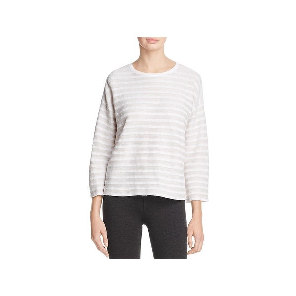 957d3d167802b2 Shop Eileen Fisher Womens Casual Top Organic Linen Striped - xL - Free  Shipping Today - Overstock.com - 23435484