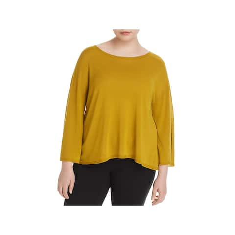 Eileen Fisher Womens Plus Casual Top Seamless Bateau Neck