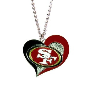 San Francisco 49ers NFL Swirl Heart Necklace