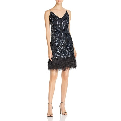 Elie Tahari Womens Porsha Slip Dress Feather Fringe Embellished - Stargazer