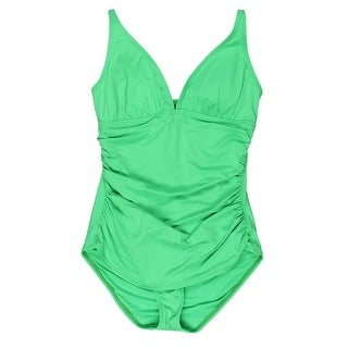 Tommy Bahama Womens Ruched Plunge Neck One-Piece Swimsuit