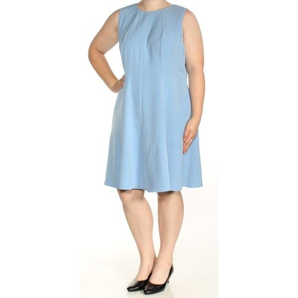 Shop Anne Klein Womens Blue Sleeveless Jewel Neck Knee