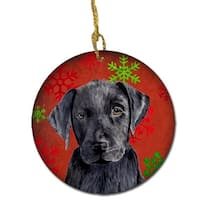 Labrador Red Snowflakes Holiday Christmas Ceramic Ornament