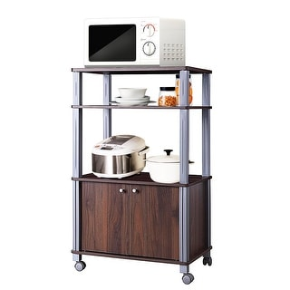 Gymax Bakers Rack Microwave Stand Rolling Storage Cart Multi-functional  Display Walnut | Overstock.com Shopping - The Best Deals on Shelves