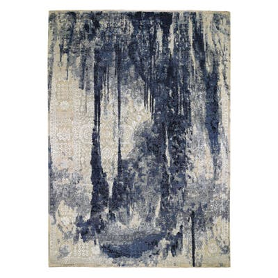 """Hand Knotted Blue Transitional with Wool & Silk Oriental Rug (10' x 13'10"""") - 10' x 13'10"""""""