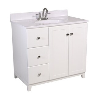 """Design House 613067 37"""" Freestanding Vanity Cabinet with Marble Vanity Top - White"""