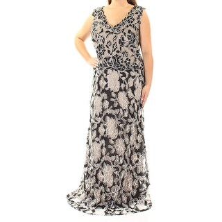 BETSY & ADAM $279 Womens 1415 Beige Floral Embellished Dress 14W Plus B+B
