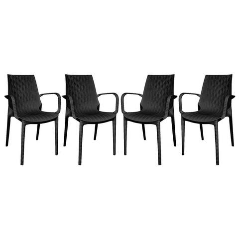 LeisureMod Kent Outdoor Stackable Dining Arm Chair Set Of 4