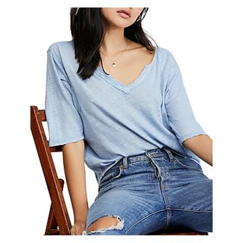 FREE PEOPLE Womens Blue Kimono Sleeve V Neck Top Size S