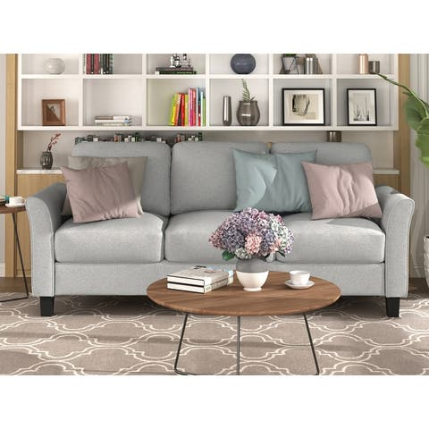 TiramisuBest 3-Seat Sofa Living Room Linen Fabric Sofa