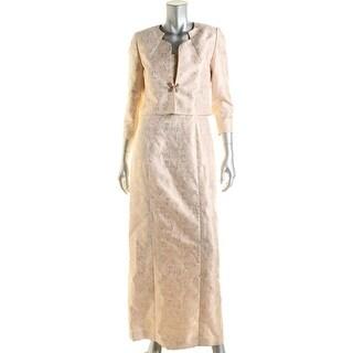 Tahari ASL Womens Metallic Sleeveless Dress With Jacket - 4
