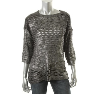 Ellen Tracy Womens All That Glitters Knit Metallic Coated Pullover Sweater - L