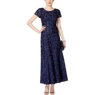 Alex Evenings Womens Petites Evening Dress Sequined Rosette