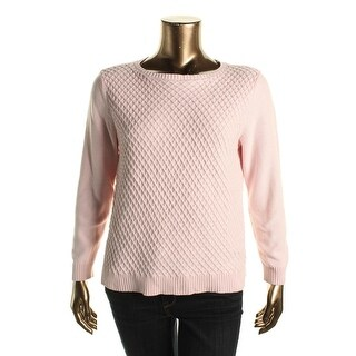 Karen Scott Womens Textured Cable Knit Pullover Sweater