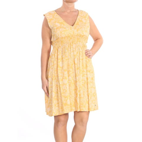 ROXY Womens Yellow Sleeveless V Neck Above The Knee Fit + Flare Dress Juniors Size: L