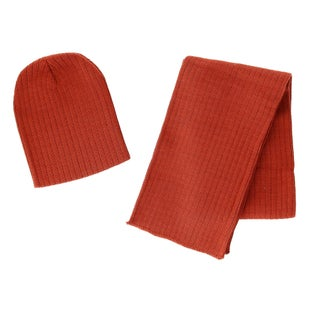 CTM® Boy's 4-7 Solid Ribbed Slouchy Beanie Hat with Scarf Set