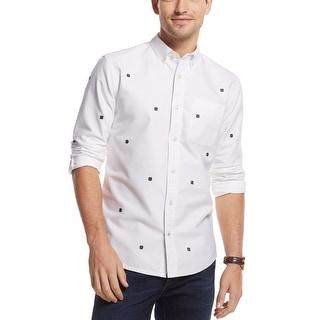 Tommy Hilfiger Harbor Snowflake Custom Fit Shirt Medium M Classic White