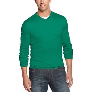 Club Room Estate Merino Wool Blend V-Neck Sweater Pretty Pine Green Small S