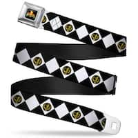 Power Rangers Logo Full Color Diamond Black Ranger Webbing Seatbelt Belt Seatbelt Belt