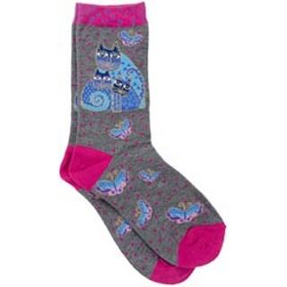 Indigo Cats - Pink - Laurel Burch Socks