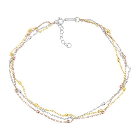 Eternity Gold Triple-Strand Beaded Anklet in 14K Three Tone Gold - Three-Tone