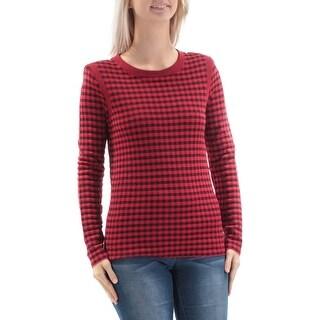 SONIA RYKIEL$670 Womens New1409 Red Black Plaid Jewel Neck Long Sleeve Top S B+B