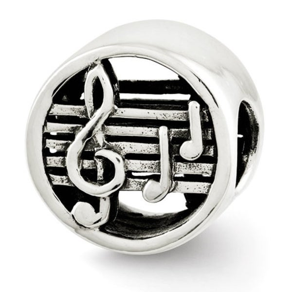 Sterling Silver Reflections Music Notes & Staff Bead (4mm Diameter Hole)