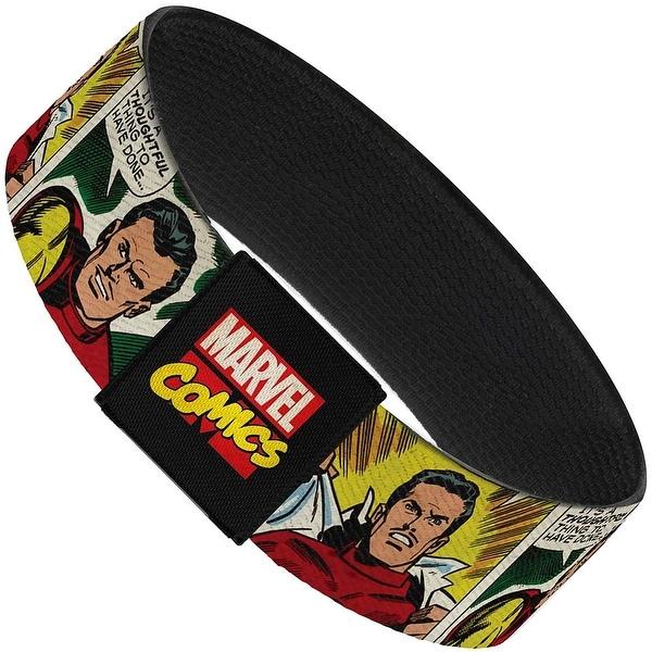 "Marvel Comics Classic Tony Stark Iron Man 3 Transformation Comic Blocks Elastic Bracelet 1.0"" Wide"