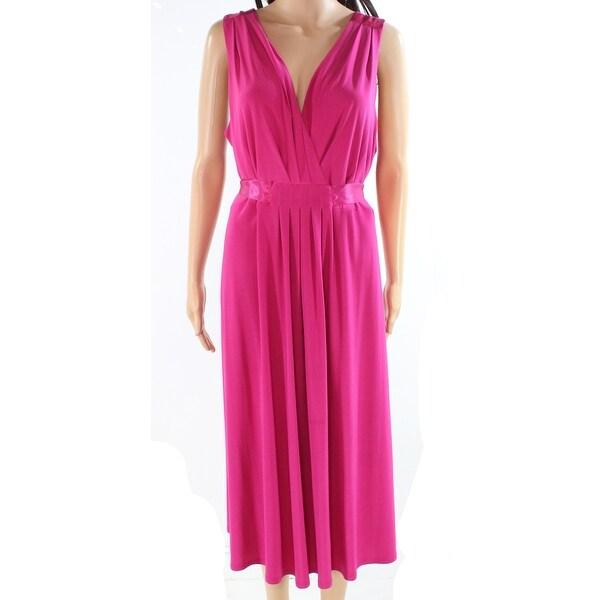 R&M Richards Women's Dress Pink Size 20W Plus Sheath Surplice Pleated