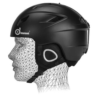 Odoland Unisex Ski Helmet for Adult Men Women Shockproof Ski Goggles Compatible Black