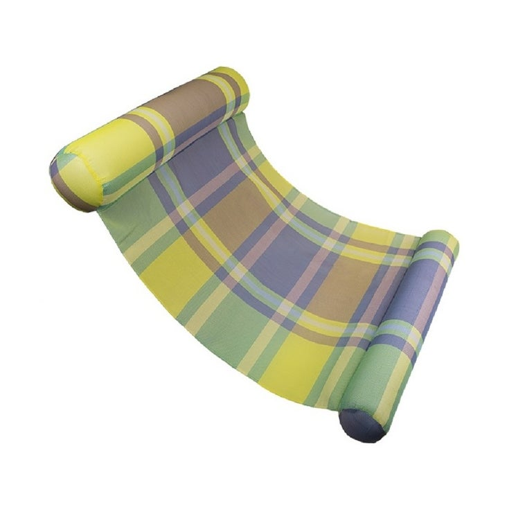 Green and Blue Plaid Extra Large Water Hammock Swimming Pool Lounger - N/A