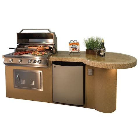 "KoKoMo Grills 7'6"" Maui With 33"" Outdoor Kitchen BBQ Island Grill"