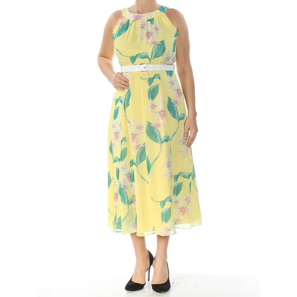 ffc852434388a TOMMY HILFIGER Womens Yellow Floral Belted Sleeveless Halter Tea-Length  Sheath Dress Size: 10