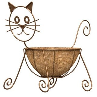 Panacea 86655 Rust Color Cat Design Planter With Coco Liner