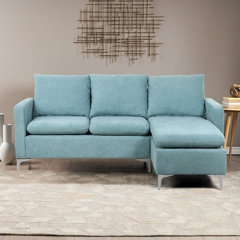 Linen Upholstered L-Shaped Sectional Sofa With Ottoman