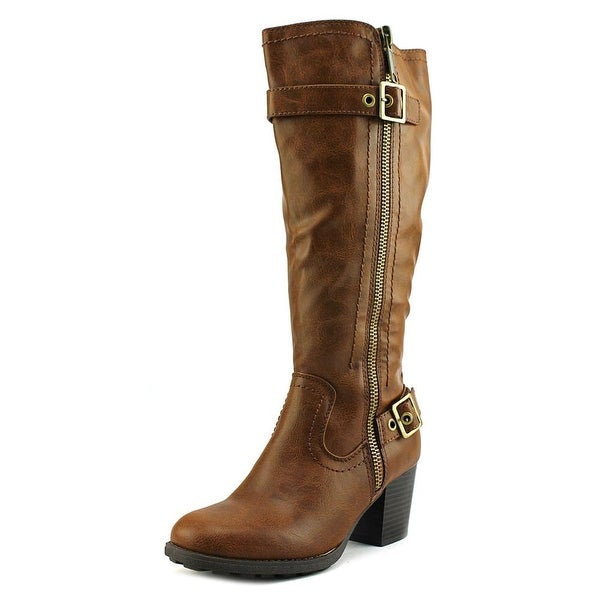 White Mountain Dover Wide Calf Women Round Toe Leather Brown Knee High Boot