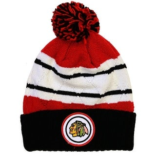 Mitchell & Ness Chicago Blackhawks Jersey Stripe Hi Five Knit Hat with Pom