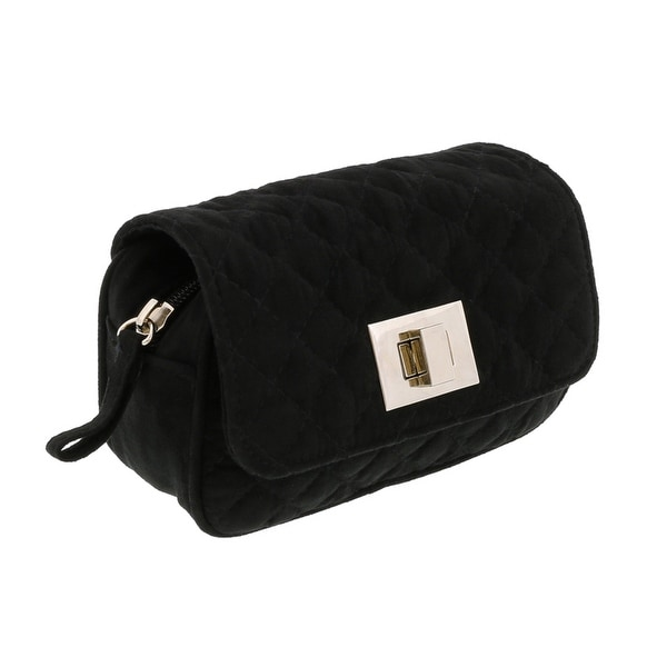 Scheilan Black Suede Quilted Boxy Crossbody Bag - 6.5-4-2