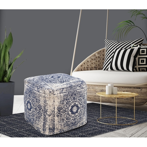 Chic Home Closser Ottoman Cotton Upholstered Two-Tone Square Pouf. Opens flyout.