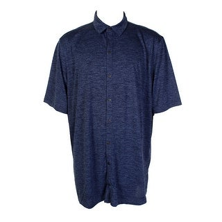 Alfani Big & Tall Blue Printed Short-Sleeve Polo XLT