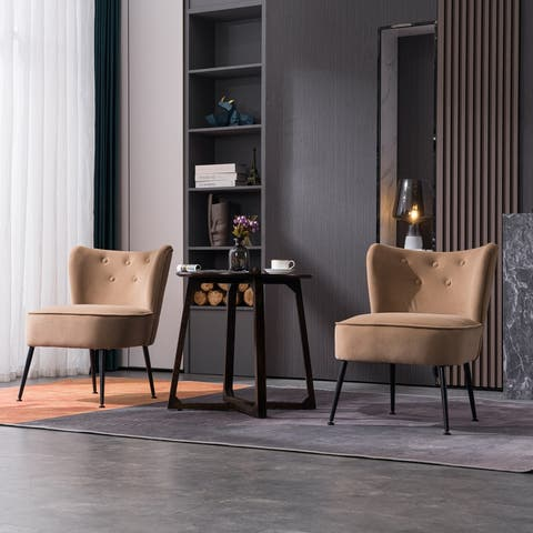 AOOLIVE 2Pcs Adjustable Modern Upholstered Velvet Accent Chair, Coffee