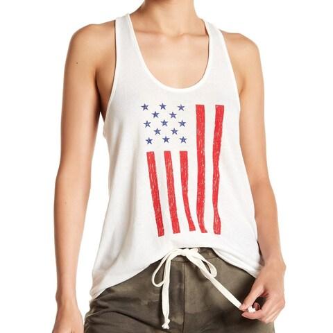 Alternative White US Flag Racerback Women XL Knit Top Graphic Tank