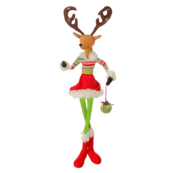 "36"" Merry & Bright Plush Sitting Reindeer Christmas Decoration with Adjustable Arms and Antlers - brown"